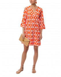 Megan Orange Chain Printed Stretch Dress
