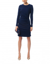 Colimbo Navy Blue Ruched Wool Jersey Dress