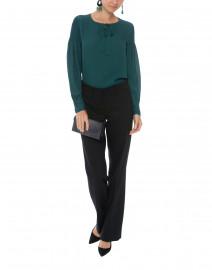 Julee Green Smocked Sleeves Silk Blouse