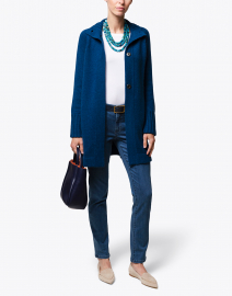 Winter Teal Blue Cashmere Swing Cardigan