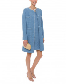 Ottico Sky Blue Tweed Coat