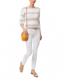 Beige and White Stripe Marled Cotton Sweater