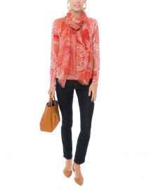 Coral Paisley Cashmere Silk Sweater
