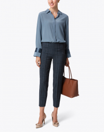 Monia Blue Plaid Stretch Pant