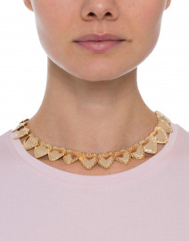 Gold Multi Repousse Heart Necklace