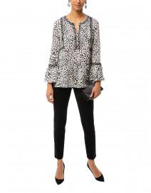 Danielle White Leopard Printed Silk Georgette Blouse