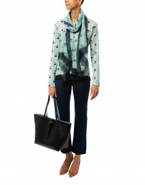 Aqua and Indigo Flower Cashmere Silk Sweater
