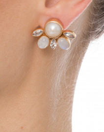 Pearl and Crystal Stud Clip On Earrings