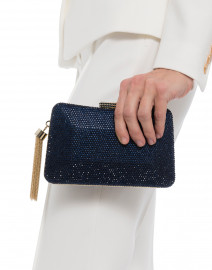 Beauty Navy Crystal Beaded Minaudière