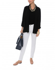 Black Ruched Sleeve Cotton Cardigan