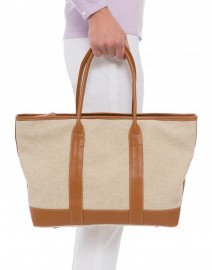 Heloise Brown Leather and Light Linen Canvas Tote