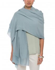 Blue Silk Cashmere Silk Twill Scarf