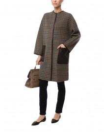 Pareo Brown and Green Plaid Wool Coat