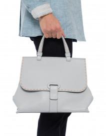 Orleans Pale Blue Pebbled Leather Tote Handbag