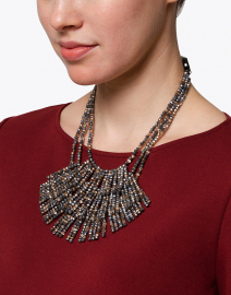 Bronze and Grey Metallic Beaded Necklace