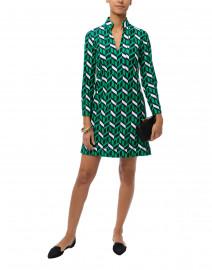 Kate Green and Navy Geometric Printed Dress