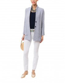 Artista Navy and White Tweed Knit Jacket