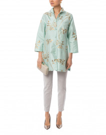 Rita Seagrass and Gold Leaf Embroidered Silk Top