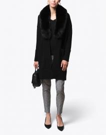 Black Fur Collar Wool Cashmere Coat