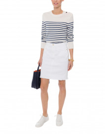 Bregancon White and Navy Striped Wool Sweater