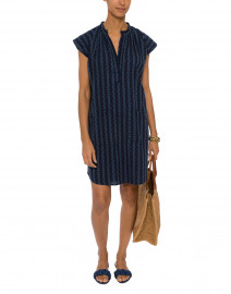 Natori Navy Geometric Printed Cotton Dress
