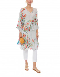 Alexandra White and Red Floral Printed Kaftan