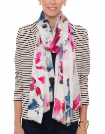 Mindfulness Pink and Blue Watercolor Floral Printed Scarf