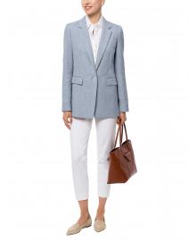Rhoda Pale Blue Cotton Linen Blazer