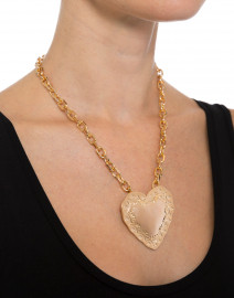 Gold Repousee Heart Pendant Necklace