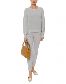 Johan Light Grey Ribbed Knit Cotton Sweater