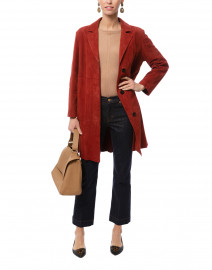 Virtus Red Suede Leather Trench Coat