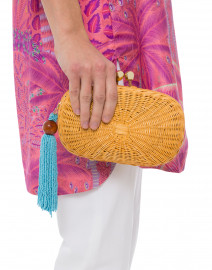 Olivine Natural Wicker Oval Clutch