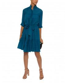 Nina Blue Tiered Button Down Cotton Shirt Dress