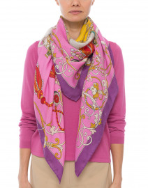 Pink Toy Horses Cashmere and Silk Scarf
