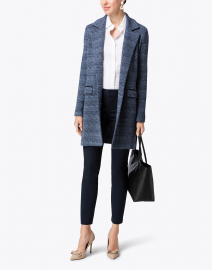 Borneo Blue and Navy Chevron Knit Coat
