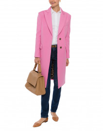 Pink Stretch Cotton Coat