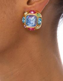 Multicolored Aqua Center Jewel Stud Earrings