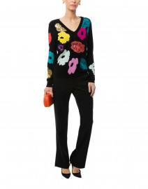 Serocky Black Sequin Floral Sweater