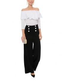 White Off-the-Shoulder Cotton Jersey Top with Poplin Overlay