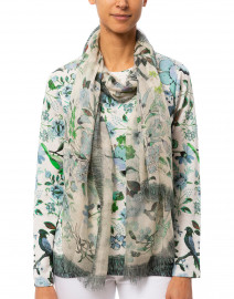 Green and White Floral Silk Cashmere Scarf