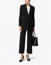 Black Crepe Long Blazer with Paillette Detail