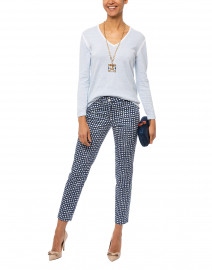 River Blue Square Spot Printed Stretch Cotton Pant