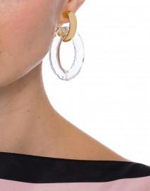 Gold Doorknocker and Clear Hoop Clip Earrings