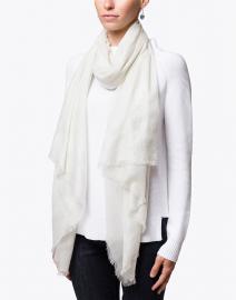 Silver Metallic Woven Wool Shawl