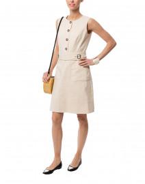 Beige Three Button Stretch Cotton Dress