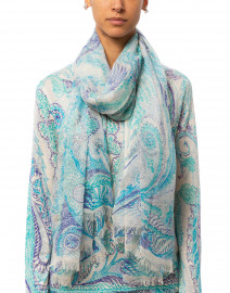 Turquoise and Purple Paisley Silk Cashmere Scarf
