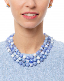 Blue and White Agate Beaded Necklace