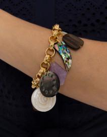 Multistone Gold Link Charm Bracelet