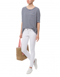 Navy and White Striped Cotton Bamboo Top
