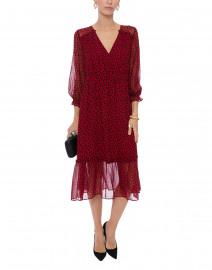 Eden Red Ginkgo Print Silk Dress